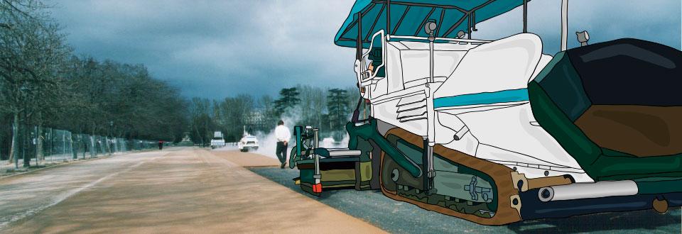 Máquina extendiendo asfalto